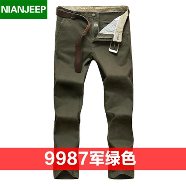 Pre-order กางเกงขายาว กางเกงธุรกิจ แฟชั่นสไตล์อเมริกันคลาสสิก หนุ่มมาดเท่ ขาลุย สีเขียว NIAN Jeep