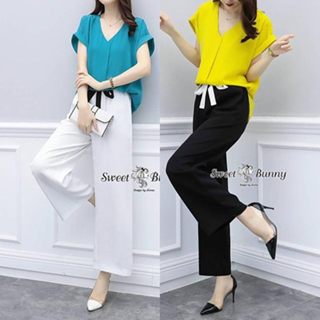 ชุดเซทแฟชั่น ชุดเซ็ทเสื้อ+กางเกงงานเกาหลี เสื้อผ้าสีพื้นเนื้อดี ผ้านุ่มใส่สบาย