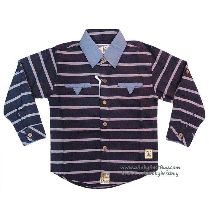 ( 4-6-8) เสื้อเชิ้ตแขนยาวสีกรม แฟชั่น เด็กผู้ชาย สุดเท่ห์ ใส่สบาย (Size 4-6-8)