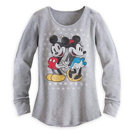 เสื้อแขนยาว ผู้ใหญ่ Mickey and Minnie Mouse Long Sleeve Thermal Tee for Women