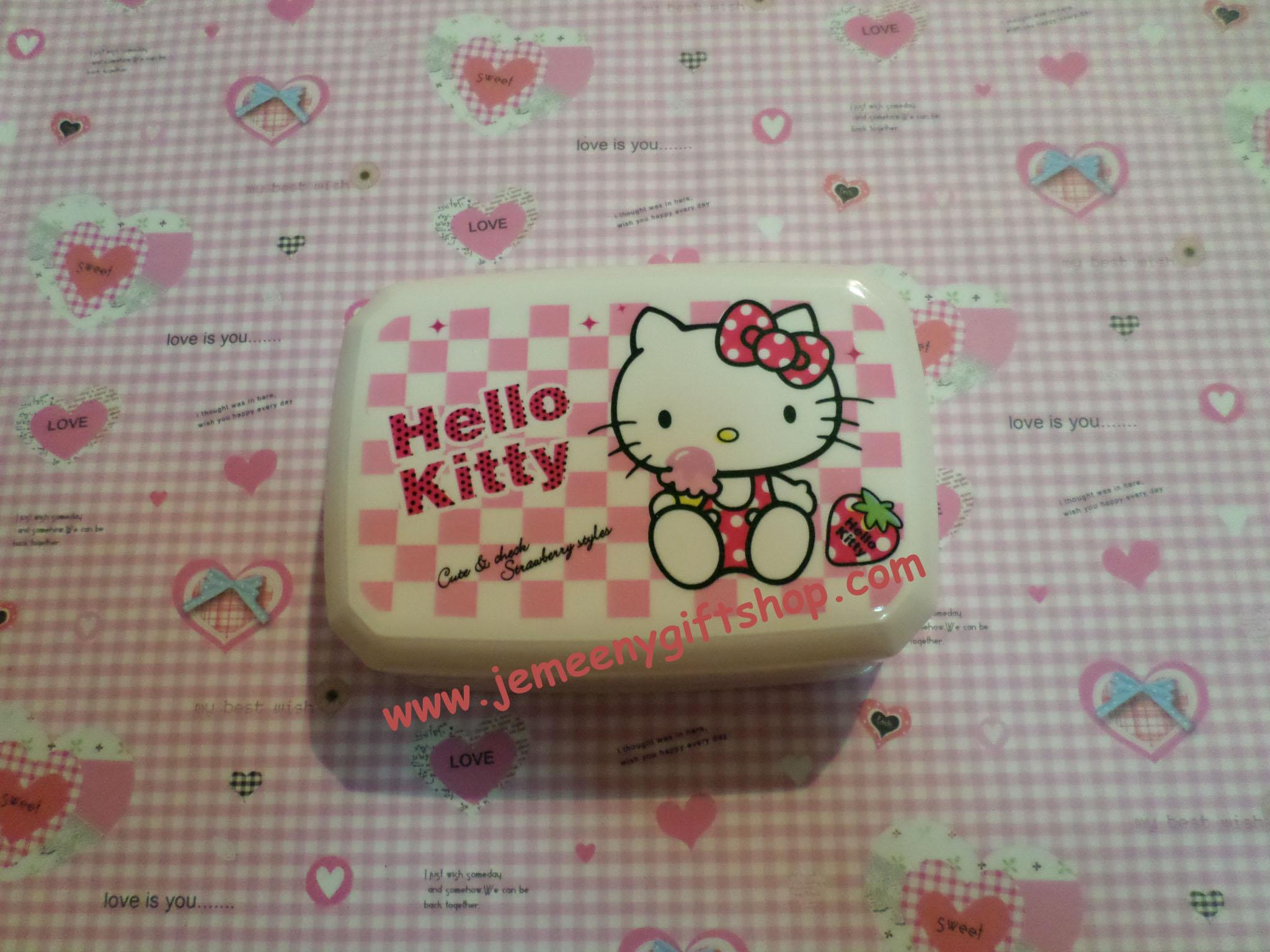 กล่องวางสบู่ในห้องน้ำ ฮัลโหลคิตตี้ Hello kitty ขนาด * ซม. ลายคิตตี้โบว์ชมพูสตรอเบอรี่ วางสบู่ก้อนใหญ่ได้หนึ่งก้อน