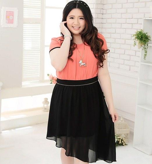 Pre Order - เดรสแฟชั่นเกาหลี คนอ้วน Big Size สวยหวาน กระโปรงยาวไล่ระดับไปด้านข้าง มีซัพใน