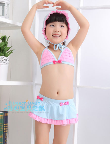 SD2104 ชุดว่ายน้ำเด็ก ทูพีช เซ็ท 3 ชิ้น sweet princess [พร้อมส่ง]