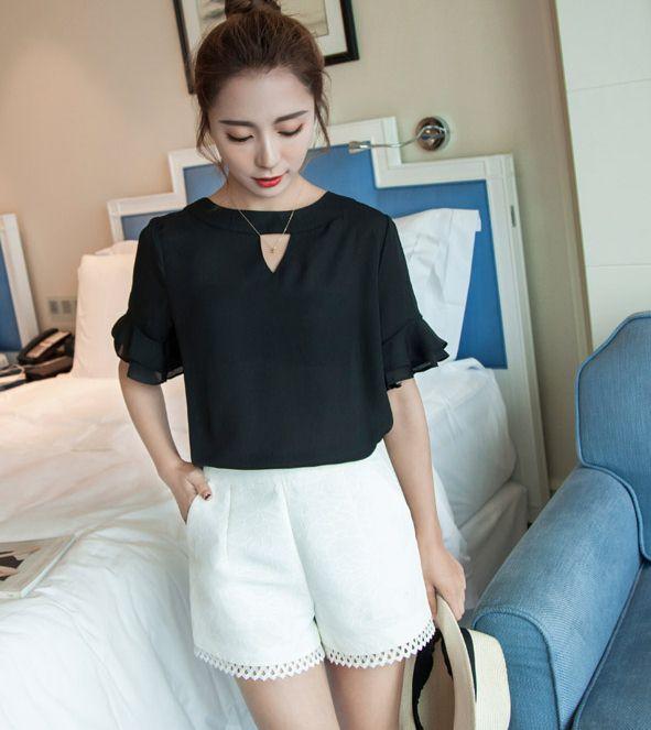 PreOrderเสื้อผ้าคนอ้วน - เสื้อแฟชั่น ผ้าชีฟองใส่สบาย สี : ขาว / ดำ