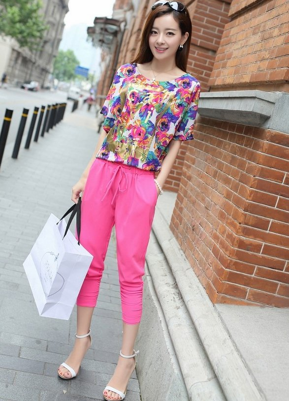PreOrderคนอ้วน - เซตคู่ แฟชั่นคนอ้วน ไซส์ใหญ่ เสื้อพิมพ์ลายสดใส กางเกงขา 5 ส่วน สี : เขียว / กุหลาบ