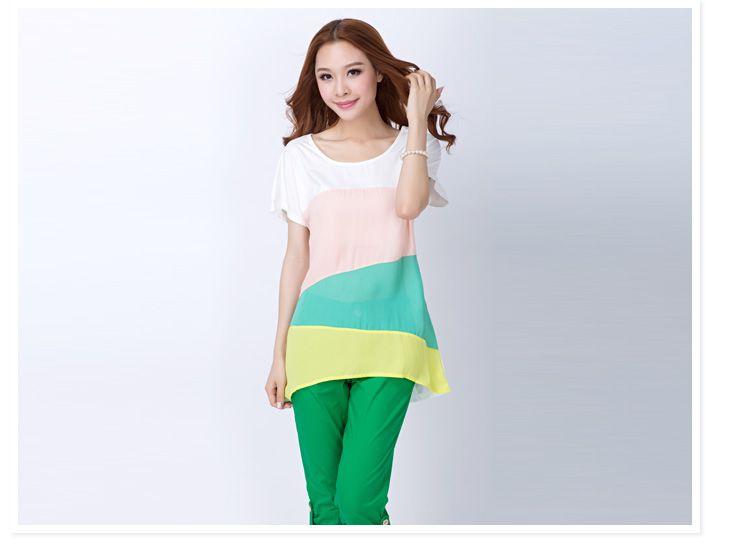 ++เสื้อผ้าไซส์ใหญ่++* Pre-Order*เสื้อผ้าแฟชั่นไซส์ใหญ่คอกลมแขนสั้นแต่งผ้าสลับสีน่ารักมากค่ะ