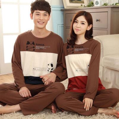 Pre Order ชุดนอนคู่รักเกาหลี เสื้อแขนยาว แต่งสลับสี พิมพ์ลายหมีแพนด้า+กางเกงขายาว