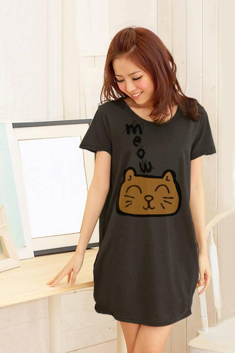 เสื้อยืดเกาหลีตัวยาว /แซ็กสั้น ผ้านุ่ม งานคุณภาพ ลาย แมวเหมียว สีเทา