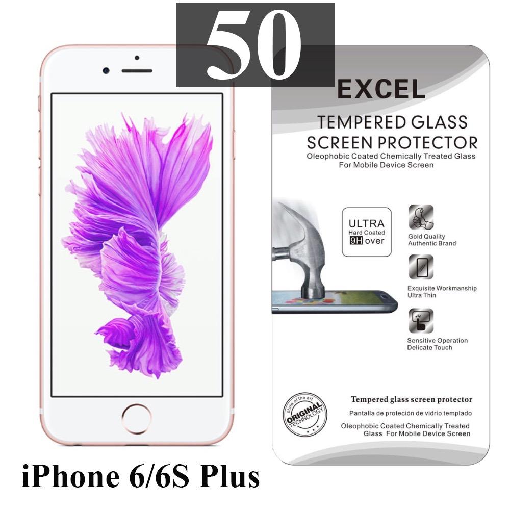 ฟิล์มกระจก iPhone 6/6s Plus Excel แผ่นละ 17 บาท (แพ็ค 50)