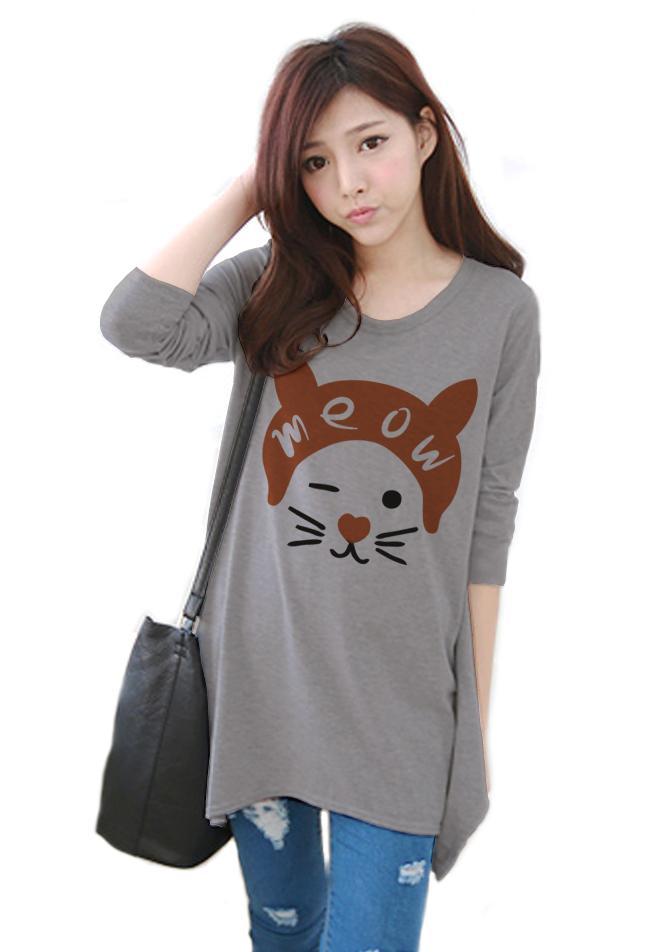 เสื้อยืดแฟชั่นแขนยาว ปลายหยัก ผ้า Cotton Combed เนื้อนุ่ม ลาย Meow Meow สีเทา