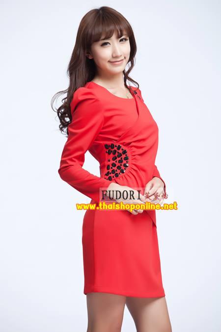 Pre-Order ชุดราตรีสั้น ชุดเดรสสั้น Brand Fu daiyi สีแดง แขนยาว ผ้าโพลีเอสเตอร์ ยืดหยุ่นดี ไม่ยับง่ายไม่ต้องรีด สวยมากๆ สินค้าเกรด A