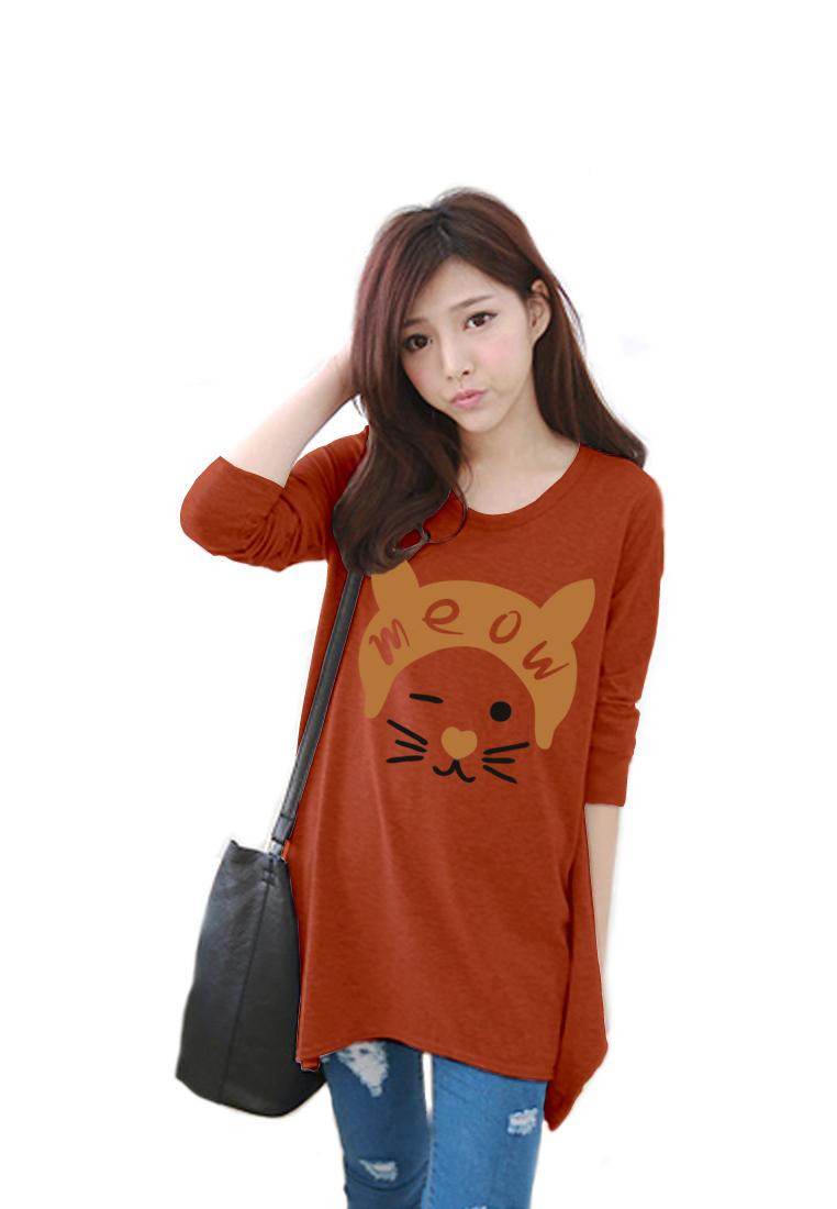 เสื้อยืดแฟชั่นแขนยาว ปลายหยัก ผ้านุ่ม ลาย Meow Meow สีส้ม