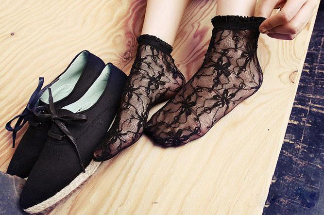 ถุงเท้าลูกไม้เกาหลี