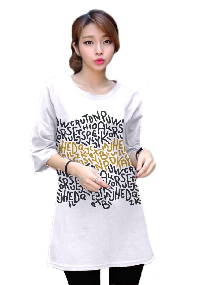 เสื้อยืดแฟชั่นแขนสามส่วน / แซกสั้น ผ้านุ่ม ลาย Colorful Alphabet สีขาว