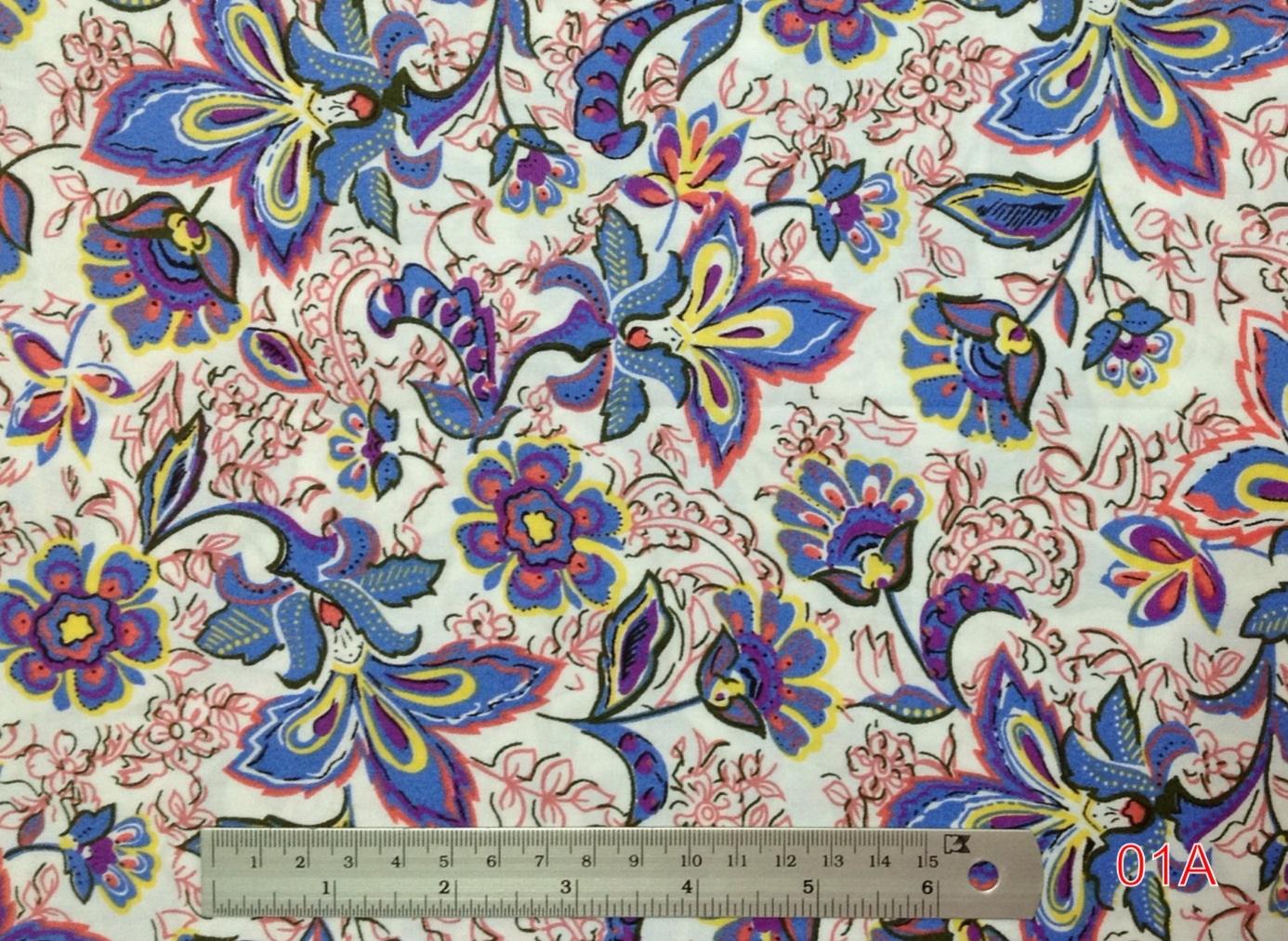 ผ้าฝ้าย cotton 100% ลายดอกไม้ใหญ่ โทนชมพูม่วง