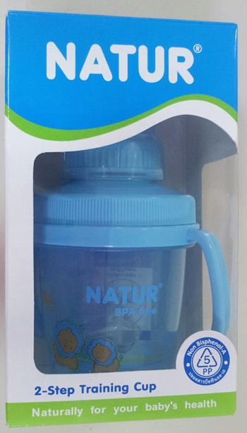 ถ้วยหัดดื่ม Natur 2 Step BPA FREE ลายการ์ตูนสีฟ้า