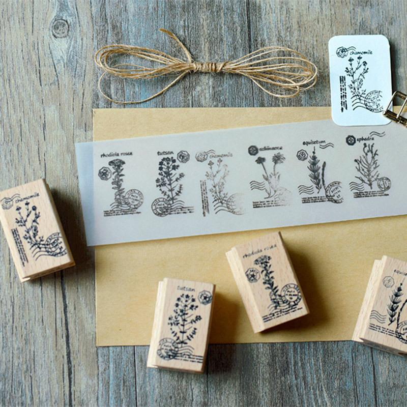 ตัวปั้ม/ตรายาง - Herb wooden stamp (ลายต้นสมุนไพร)