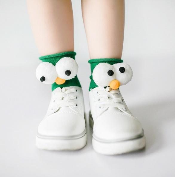 ถุงเท้าแฟนซี#แต่งลูกตาเอลโม่/สีเขียว