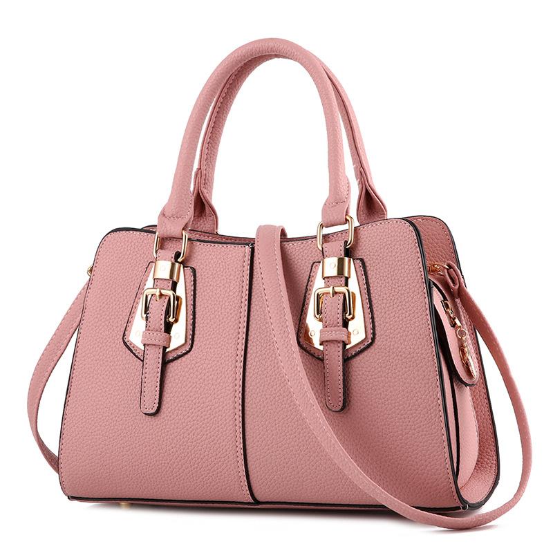 Pre-order กระเป๋าผู้หญิงถือลาย แต่งเข็มขัด กระเป๋าผู้ใหญ่ถือออกงาน ถือทำงาน รหัส Yi-2093 สีชมพู