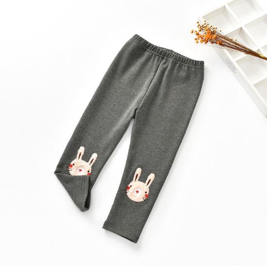เลกกิ้งปักกระต่ายปลายขา#เนื้อดี#ผ้านุ่มมาก/สีเทาเข้ม
