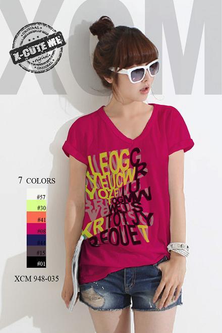 เสื้อยืดแฟชั่น Extreme Series คอวี แขนเบิ้ล ลาย Font Art สีชมพูบานเย็น (Size M)