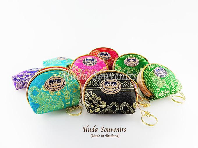 ของที่ระลึกไทย กระเป๋าใส่เศษสตางค์ ขอบทอง (ขนาด: ขอบทองใข่) ลวดลายช้างป่า หนึ่งโหลคละสี จำหน่ายยกโหล สินค้าพร้อมส่ง