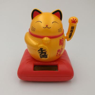 อุปกรณ์แต่งรถยนต์ แมวกวักเรียกทรัพย์สีทอง ดุ๊กดิ๊กพลังงานแสงอาทิตย์