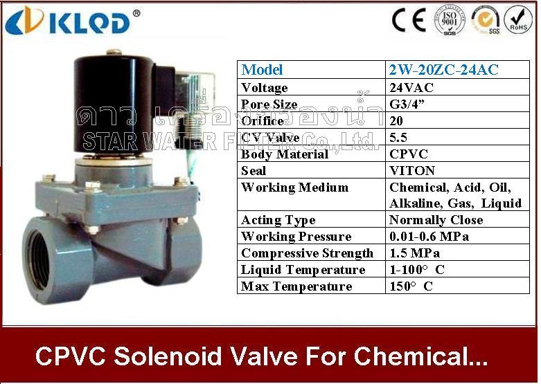 CPVC Chemical Solenoid valve ทน กรด ด่าง ความร้อน เคมี 3/4 นิ้ว 24VAC KLOD