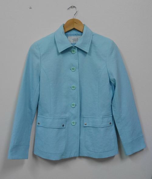 Jp5108 เสื้อแจ็คเก็ตสูท สีฟ้า ซับในทั้งตัว รอบอก 35-37 นิ้ว