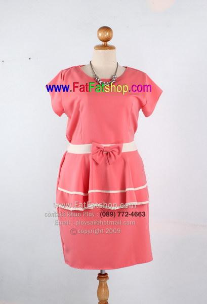 f007-42-44-เสื้อผ้าคนอ้วน ผ้านาโนสีโอรส แต่งโบว์+ระบายช่วงเอวด้านหน้า ยางยืดเส้นคู่ด้านหลัง สวยๆใส่สบายๆค่ะ รอบอก 44 นิ้ว