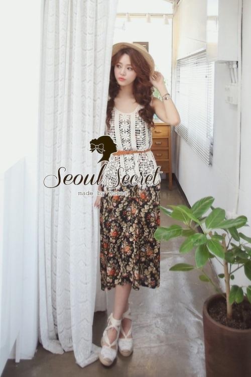 Seoul Secret Set Long Blossom Vintage with Cami Wool Weave
