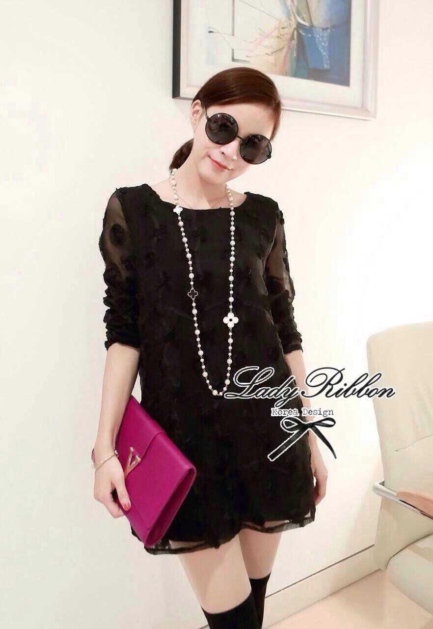 Lady Ribbon Organdy Glittery Mini Dress มินิเดรสผ้าแก้วซีทรู สีขาว สีดำ