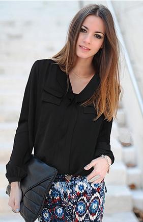 เสื้อแขนยาว ผ้าชีฟอง แต่งกระเป๋าหลอก สีดำ สีขาว