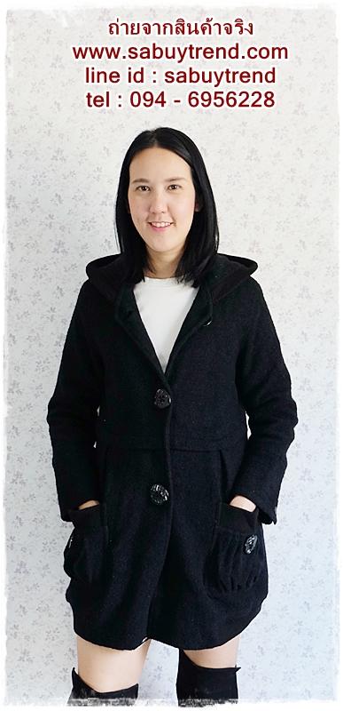 ((ขายแล้วครับ))ca-2662 เสื้อโค้ทกันหนาวผ้าวูลสีดำ รอบอก36
