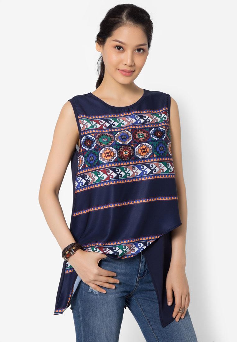 เสื้อเบลาส์ Asymmetrical Aztec